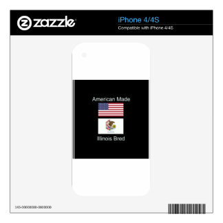 """American Born..Illinois Bred"" Flag Design Skins For iPhone 4S"