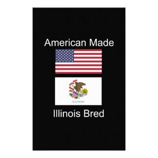 """American Born..Illinois Bred"" Flag Design Stationery"