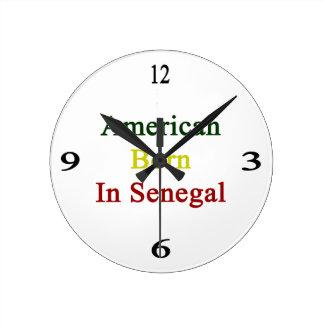 American Born In Senegal Round Wall Clocks