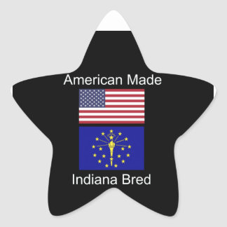 """""""American Born..Indiana Bred"""" Flags and Patriotism Star Sticker"""
