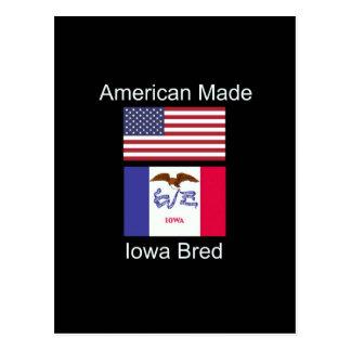 """American Born..Iowa Bred"" Flags and Patriotism Postcard"