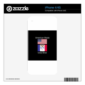 """""""American Born..Iowa Bred"""" Flags and Patriotism Skin For iPhone 4S"""