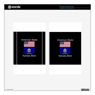 """American Born..Kansas Bred"" Flags and Patriotism Decal For Kindle Fire"