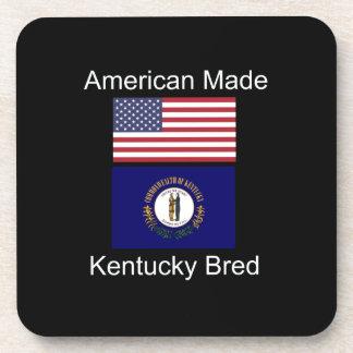 """""""American Born..Kentucky Bred"""" Flag Design Drink Coaster"""
