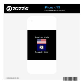 """American Born..Kentucky Bred"" Flag Design iPhone 4S Decals"
