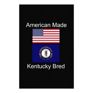 """American Born..Kentucky Bred"" Flag Design Stationery"