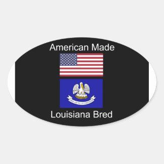 """""""American Born..Louisiana Bred"""" Flag Design Oval Sticker"""