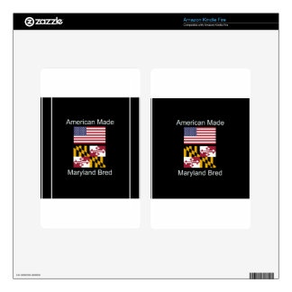 """American Born..Maryland Bred"" Flag Design Kindle Fire Decals"