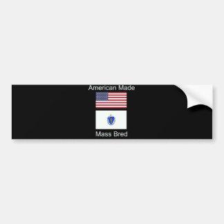 """American Born..Massachusetts Bred"" Flag Design Bumper Sticker"