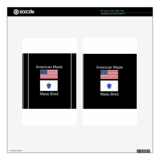 """American Born..Massachusetts Bred"" Flag Design Decals For Kindle Fire"