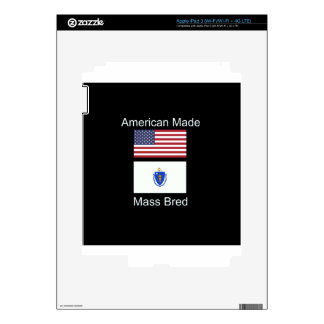 """American Born..Massachusetts Bred"" Flag Design iPad 3 Decals"