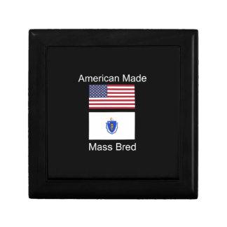 """""""American Born..Massachusetts Bred"""" Flag Design Keepsake Box"""