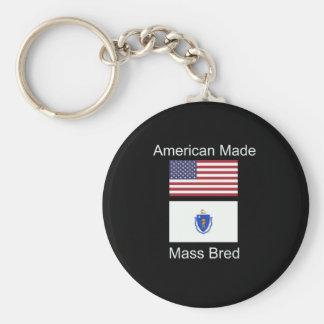 """""""American Born..Massachusetts Bred"""" Flag Design Keychain"""