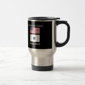 """""""American Born..Massachusetts Bred"""" Flag Design Travel Mug"""