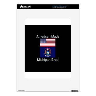 """American Born..Michigan Bred"" Flag Design Decal For iPad"