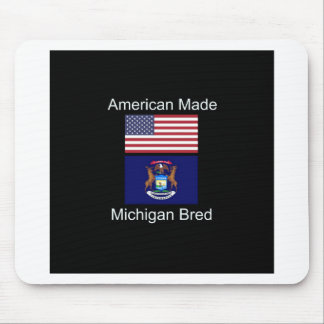 """""""American Born..Michigan Bred"""" Flag Design Mouse Pad"""