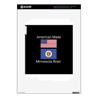"""American Born..Minnesota Bred"" Flag Design iPad 3 Skins"
