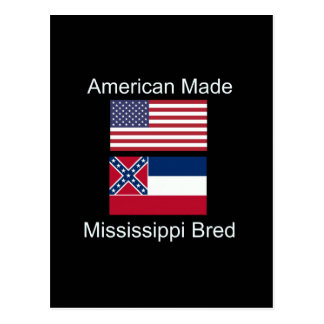"""American Born..Mississippi Bred"" Flag Design Postcard"
