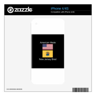 """""""American Born..New Jersey Bred"""" Flag Design iPhone 4 Decals"""