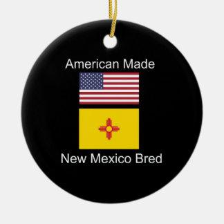 """""""American Born..New Mexico Bred"""" Flag Design Ceramic Ornament"""