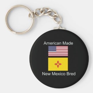 """American Born..New Mexico Bred"" Flag Design Keychain"