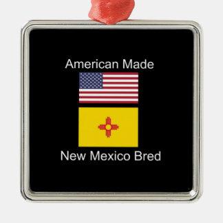 """""""American Born..New Mexico Bred"""" Flag Design Metal Ornament"""