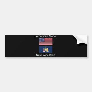 """""""American Born..New York Bred"""" Flag Design Bumper Sticker"""