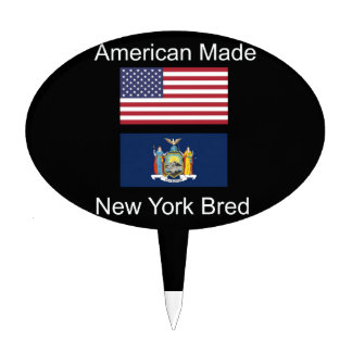 """""""American Born..New York Bred"""" Flag Design Cake Topper"""