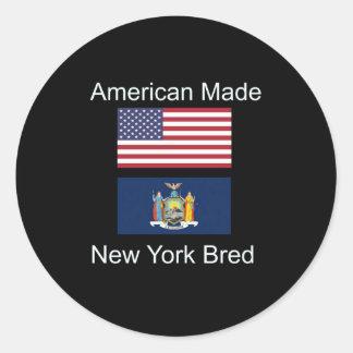"""American Born..New York Bred"" Flag Design Classic Round Sticker"