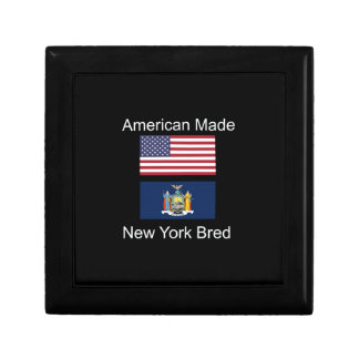 """American Born..New York Bred"" Flag Design Keepsake Box"