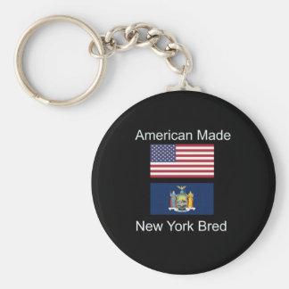 """American Born..New York Bred"" Flag Design Keychain"