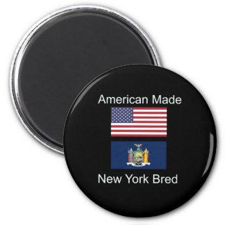 """""""American Born..New York Bred"""" Flag Design Magnet"""