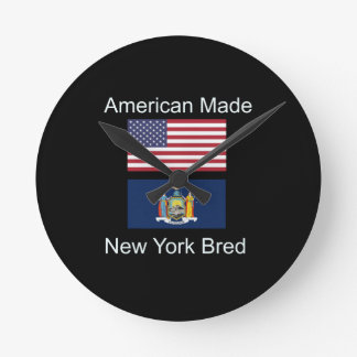 """American Born..New York Bred"" Flag Design Round Clock"