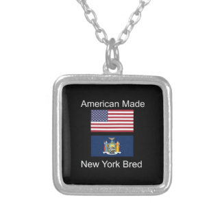 """""""American Born..New York Bred"""" Flag Design Silver Plated Necklace"""