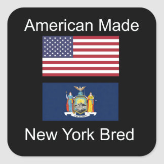 """""""American Born..New York Bred"""" Flag Design Square Sticker"""