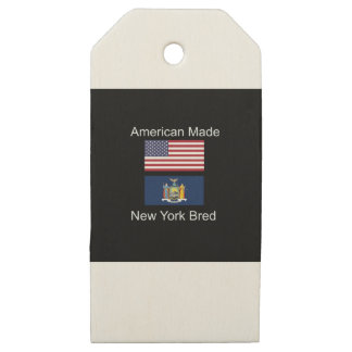 """""""American Born..New York Bred"""" Flag Design Wooden Gift Tags"""