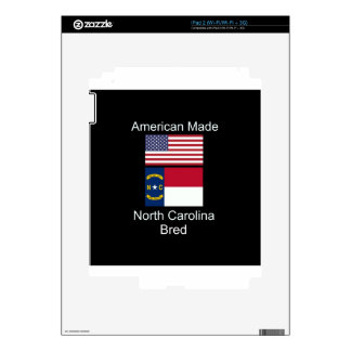 """American Born..North Carolina Bred"" Flag Design iPad 2 Decal"