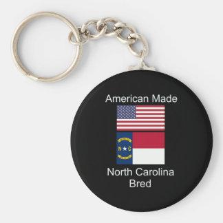 """American Born..North Carolina Bred"" Flag Design Keychain"