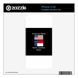 """American Born..North Carolina Bred"" Flag Design Skins For The iPhone 4S"