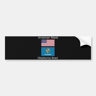 """""""American Born..Oklahoma Bred"""" Flag Design Bumper Sticker"""
