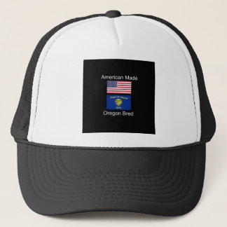 """American Born..Oregon Bred"" Flags and Patriotism Trucker Hat"
