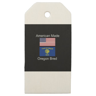"""""""American Born..Oregon Bred"""" Flags and Patriotism Wooden Gift Tags"""