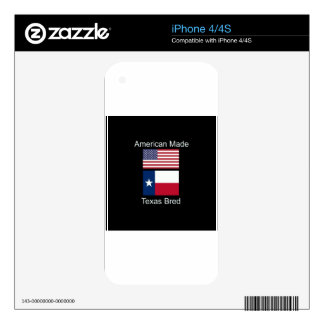 """""""American Born..Texas Bred"""" Flags and Patriotism iPhone 4S Skin"""