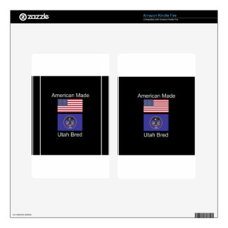 """American Born..Utah Bred"" Flags and Patriotism Kindle Fire Decals"