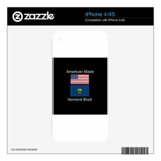 """""""American Born..Vermont Bred"""" Flags and Patriotism iPhone 4S Decals"""