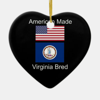 """American Born..Virginia Bred"" Flag Design Ceramic Ornament"