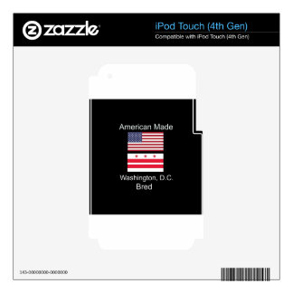 """""""American Born..Washington, D.C. Bred"""" Flag Design Decal For iPod Touch 4G"""
