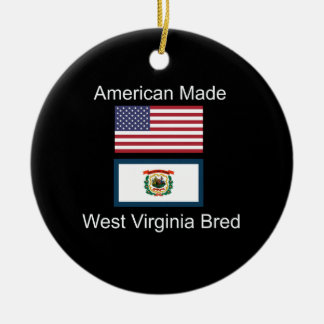 """""""American Born..West Virginia Bred"""" Flag Design Ceramic Ornament"""