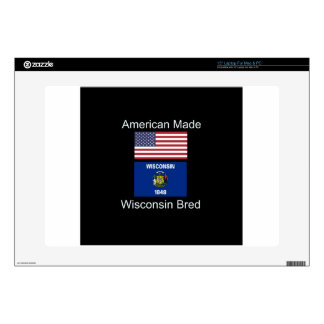 """""""American Born..Wisconsin Bred"""" Flag Design Decals For Laptops"""