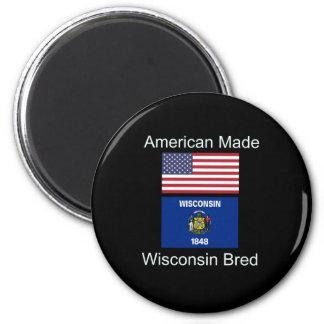 """American Born..Wisconsin Bred"" Flag Design Magnet"